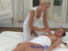 Massage Rooms Perfect breasts are oiled and massaged by young lesbians