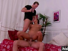 Hot Nataly plays with two dicks