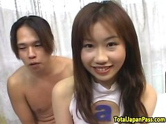 Hairy japanese teen doggystyled after titplay