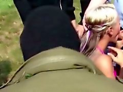 German Teen Outdoor Gangbang by Many Stranger