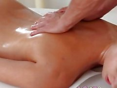 Love Creampie College girl orgasms as masseur cums inside her young pussy