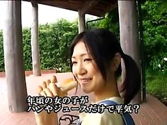 Skinny Oriental teen with pigtails delivers a special blowj