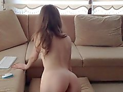 Lady masturbates and undresses