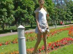 blonde girl - nude in public