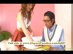 Risa Tsukino Asian doll in sexy uniform shows off perfect ass
