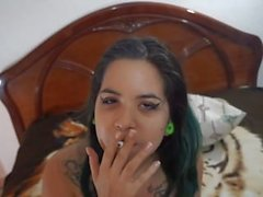 Smoking and playing with my 19yo pussy