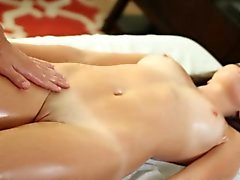 Amy has a shaved pussy and he licks her pink clit