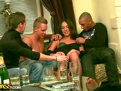 Gangbang sex with a young brunette xxx