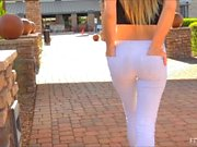 Cute blonde teen shows pussy and boobs in public