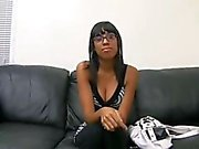 Cute Hairy Ebony Teen Casting with unknow man