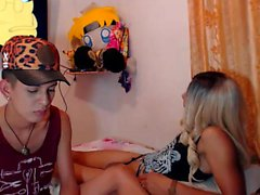 Blonde teen toying her pussy with glass dildo on webcam