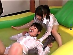 Luscious Japanese teens take turns fucked in inflatable pool