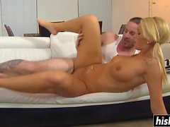 Blonde girl pleases a long cock