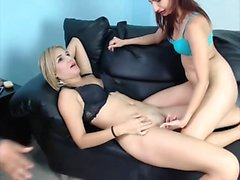Horny wives share same man on cam
