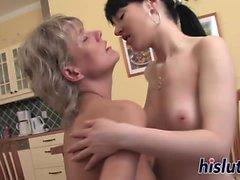 Grandmother bangs a young lesbian slut