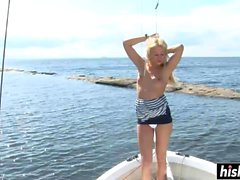 Faith masturbates passionately on her boat ride
