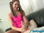 Petite teen with pigtails wanking a dong