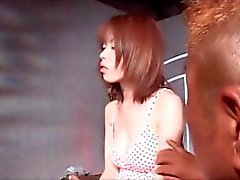 Jap redhead girl gifting her lusty boyfriend with a blowjob
