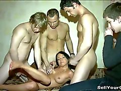 Eden handles three cocks in front of her boyfriend