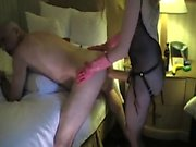 Horny old dude gets fucked by a hot dominatrix with a strap