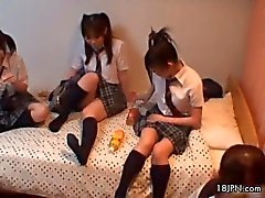 Three cute Japanese girlfriends love to show off