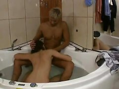Teen brunette nailed and facialized in the shower