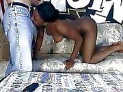 Ebony with bandana likes to swallow white dick