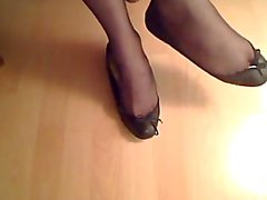 sexy flats and black nylon shoeplay