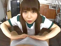 Handjob and footjob from a pretty asian girl