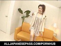 Sexy Asian Rina Koizumi exposes hairy twat for a vibrator