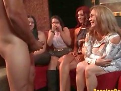Horny Brunette gets a Facial at the Stripclub