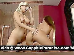 Amazing brunette and blonde lesbians licking and fingering pussy