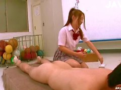 Jap teen wanking guy cock in classroom