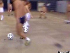 Half naked Jap teens play soccer with their teachers