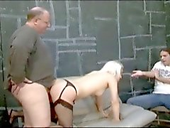 Old fat man spanks and fucks blonde