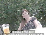Busty amateur sucking cock and fucking outdoors