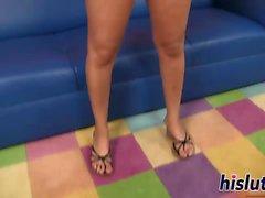 Hot Latina cutie pleasures a big dong