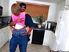 Skinny teen Brunette sucks a big African cock