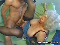 Half naked granny fucked hard by a young stud