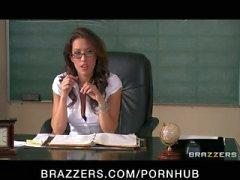 Sexy busty school teacher fucks her students big-dick in detention
