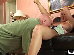 Bald guy has fun with a cute babe