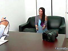 Amazing and gorgeous brunette at a casting interview