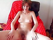 Hairy pussy comes out when legs spread