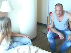 blonde bitch fucks with old fart
