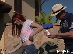 Amazing German redhead with a hot body enjoys an amazing
