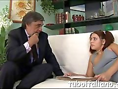 Cute teen seduces an Italian businessman