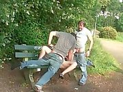 Teen threesome public sex in public park in broad daylight