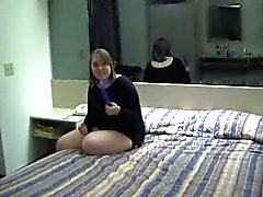 Cute chubby girl masturbates on bed