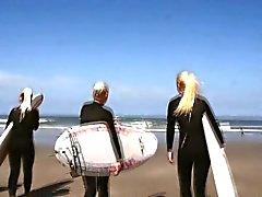 Lesbo teen group on beach