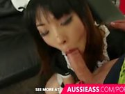 Asian maid takes a mouth of cumafter bouncing on aussie boys cock